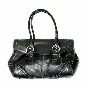 Coach Black Leather Soho Hamptons Flap Satchel Bag